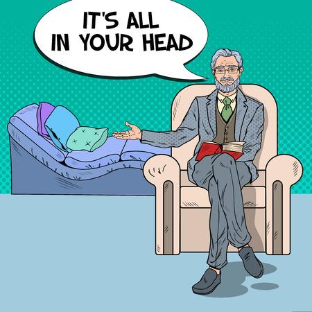 Pop Art Psychologist Welcomes to Visit. Vector illustration Illustration
