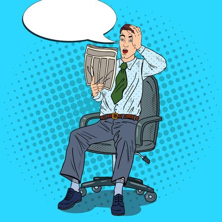 bad news: Pop Art Businessman Reading Newspaper and Grabbed His Head. Bad News Shock. Vector illustration Illustration