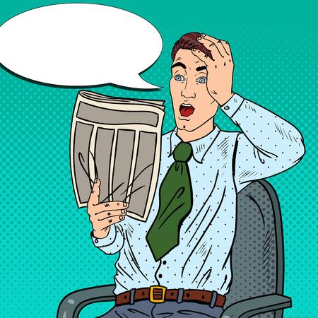 bad news: Pop Art Surprised Businessman Reading Newspaper. Bad News. Vector illustration