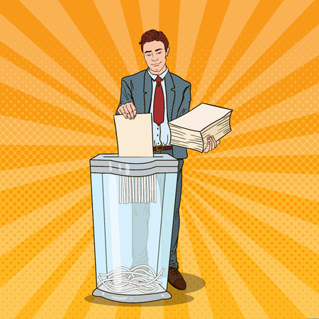 Pop Art Businessman Utilises Paper Documents in Shredder. Vector illustration Illustration