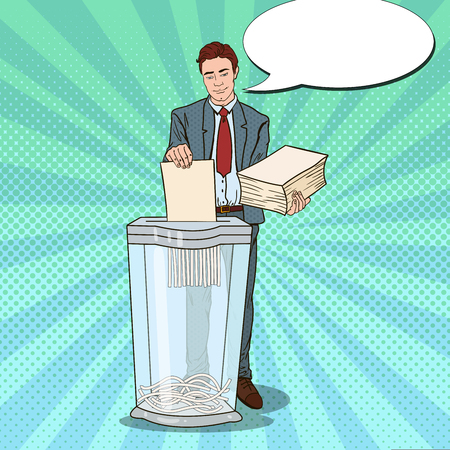 Pop Art Businessman Destroying Paper Documents in Shredder. Vector illustration