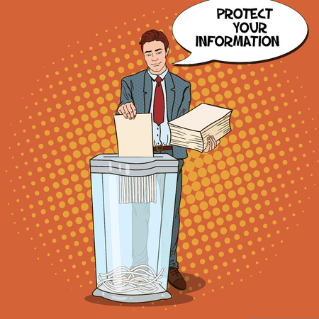 Pop Art Businessman Shredding Secret Paper Documents. Vector illustration