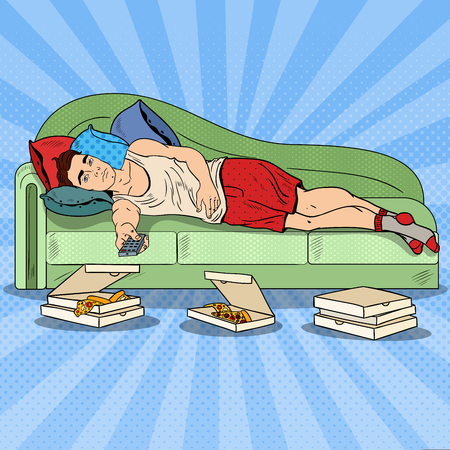 TV를 시청 예술 게으른 남자와 먹는 피자 팝. 벡터 일러스트 레이 션 일러스트