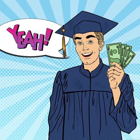 Pop Art Smiling Graduated Student with Money. Financial Aid. Vector illustration