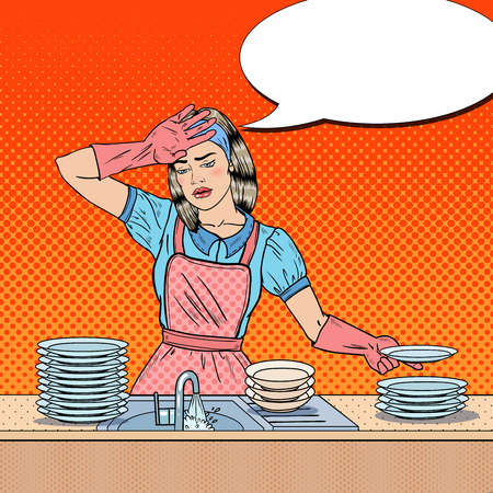 Pop Art Bored Woman Washing Dishes at the Kitchen. Vector illustration