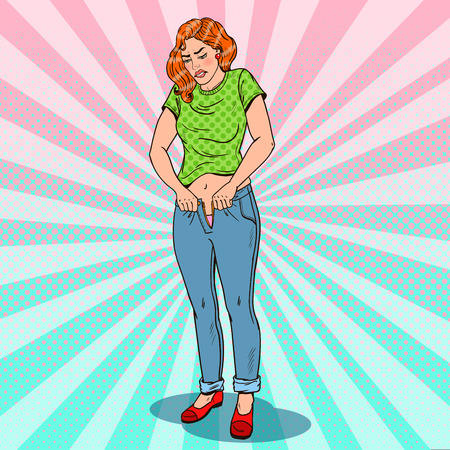 Pop Art Overweight Woman Trying to Fasten To Small Jeans. Vector illustration