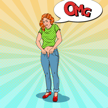 Pop Art Overweight Woman Trying to Fasten To Small Trousers. Vector illustration Vectores
