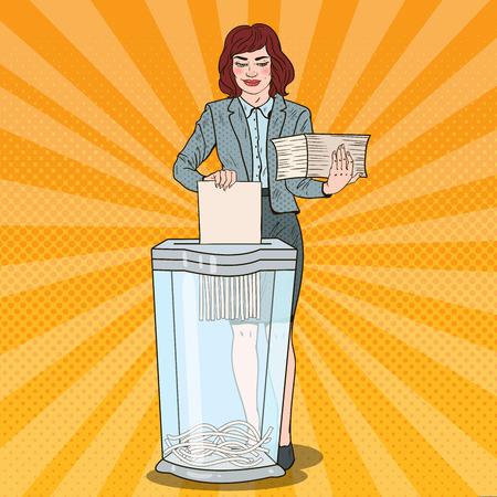 Pop Art Business Woman Utilises Paper Documents in Shredder. Vector illustration Illustration