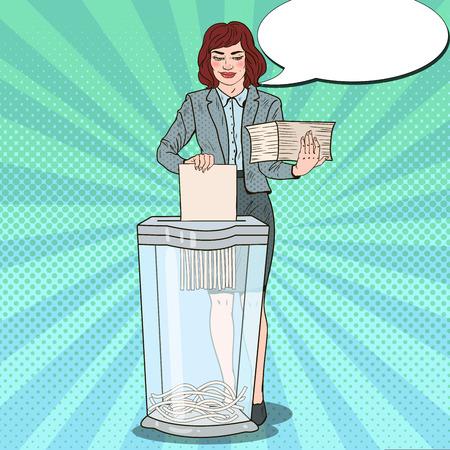 Pop Art Secretary Woman Destroying Paper Documents in Shredder. Vector illustration Illustration