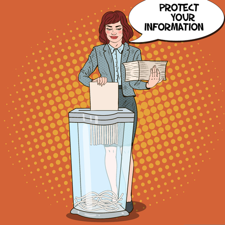 Pop Art Business Woman Shredding Paper Documents. Vector illustration Ilustração