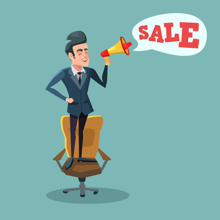 Cartoon Businessman Standing on Office Chair with Megaphone and Promoting Sale. Big Discount. Vector illustration Illustration