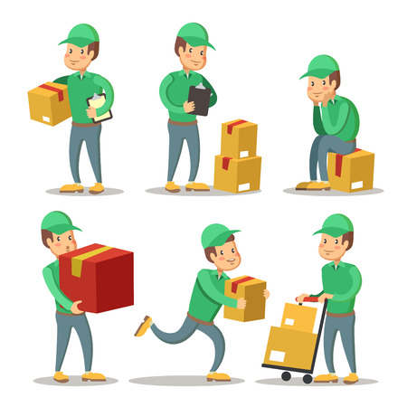 Delivery Service Man Cartoon Character Set. Courier with the Box. Vector illustration Illustration