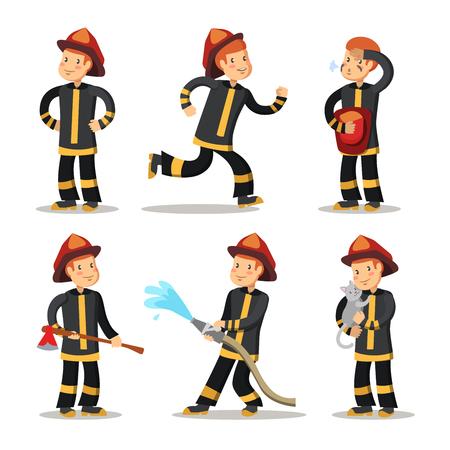 Brandweerman Cartoon tekenset. Brandweerman met slang. Vector illustratie