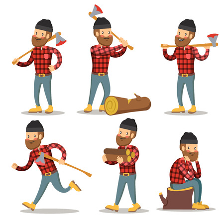 Lumberjack Cartoon Character Set. Woodcutter with Axe. Vector illustration Imagens - 74107678