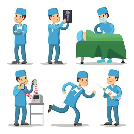 Hospital Medical Staff Character. Surgeon Doctor Cartoon. Vector illustration