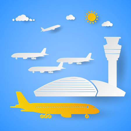 Airport Terminal with Planes. Cut Paper Vector Illustration