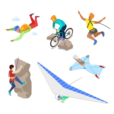 Isometric Extreme Sports People with Bungee, Skydiving and Parachuting. Vector 3d flat illustration Illustration