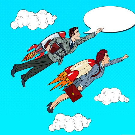 Pop Art Business People Flying on Rockets. Creative Start Up Concept. Vector illustration