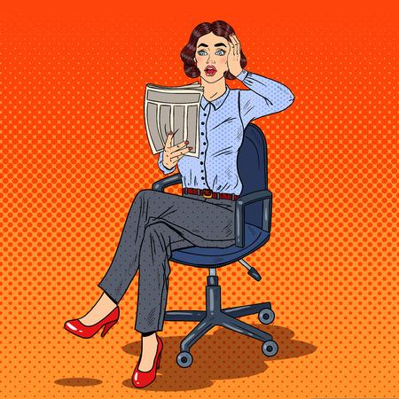 bad news: Pop Art Shocked Business Woman Reading a Newspaper. Bad News. Vector illustration Illustration