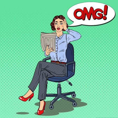 Pop Art Shocked Woman Reading a Newspaper. Bad News. Vector illustration