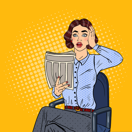 Pop Art Shocked Business Woman Reading a Newspaper. Bad News. Vector illustration Ilustrace