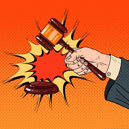 Pop Art Judge Hand Hitting Wooden Gavel in a Courtroom. Vector illustration