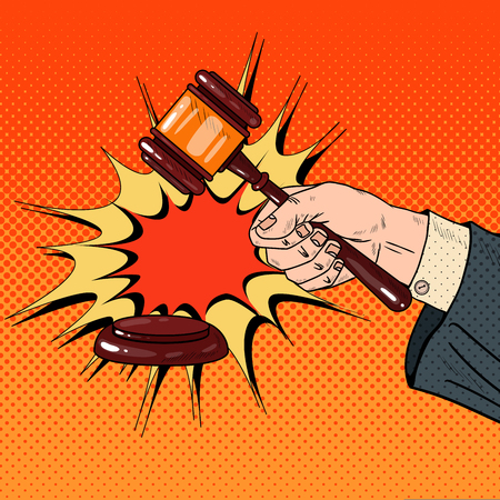 Pop Art Judge Hand Hitting Wooden Gavel in a Courtroom. Vector illustration
