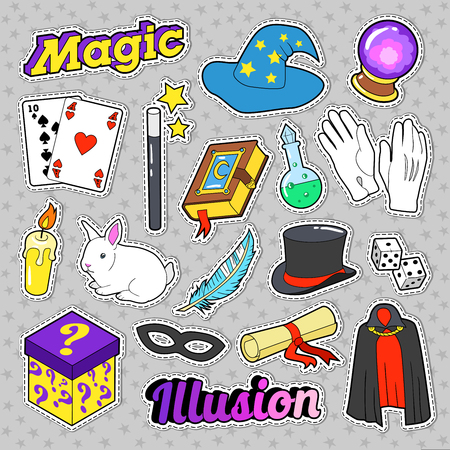 Magician Elements Set with Magic Wand, Mask and Cylinder for Stickers, Badges. Vector doodle Illustration