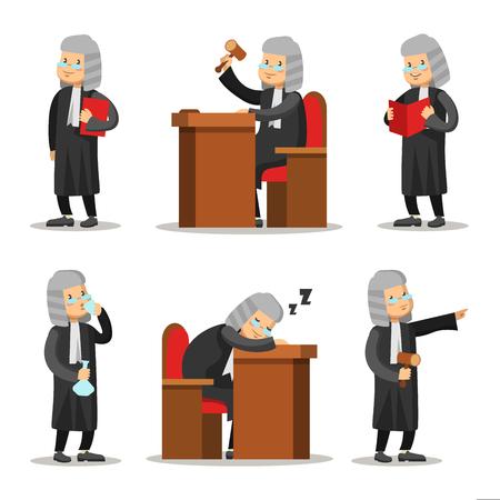 Judge Cartoon Character Set. Wet en rechtvaardigheid. Vector illustratie Stock Illustratie