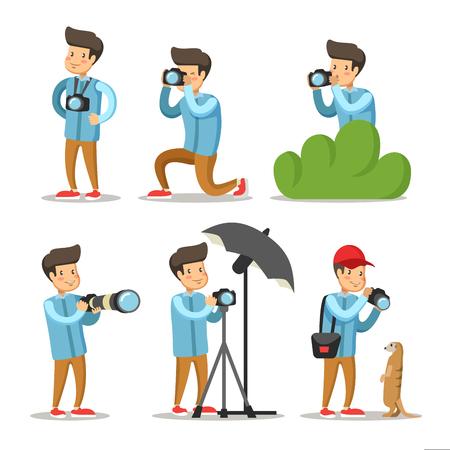 写真家漫画文字セット。写真のカメラを持つ男。ベクトル図