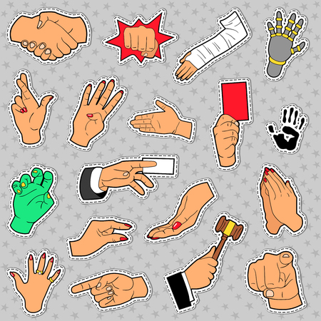 female hands: Hands and Arms Set with Different Signs for Scrapbook, Prints and Stickers. Vector doodle