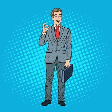 Pop Art Erfolgreicher Geschäftsmann Gestikulieren OK. Geschäftlicher Erfolg. Vektor-Illustration