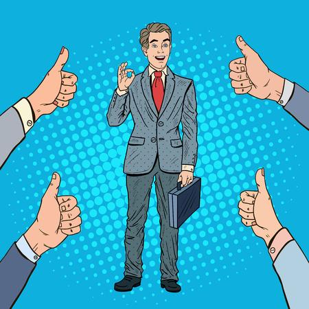 Pop Art Successful Businessman Gesturing OK. Team Work. Vector illustration Illustration