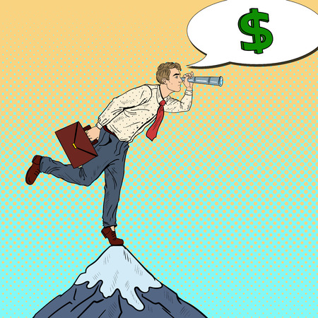 Pop Art Businessman with Spyglass on the Peak of the Mountain Looking for Money. Business Strategy. Vector illustration