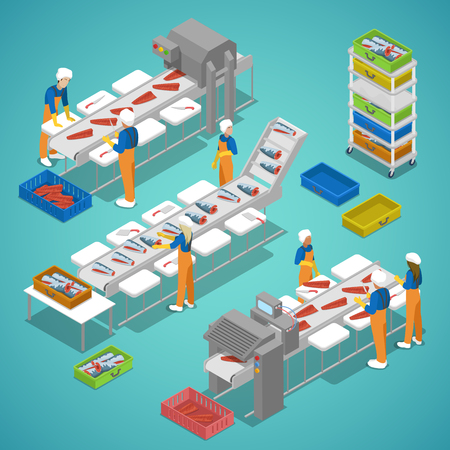 Fish Farming Industry with Conveyor and Workers. Vector flat 3d isometric illustration