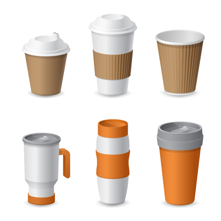 Coffee Cup and Mug Template Mockup for Branding. Realistic vector illustration Illustration