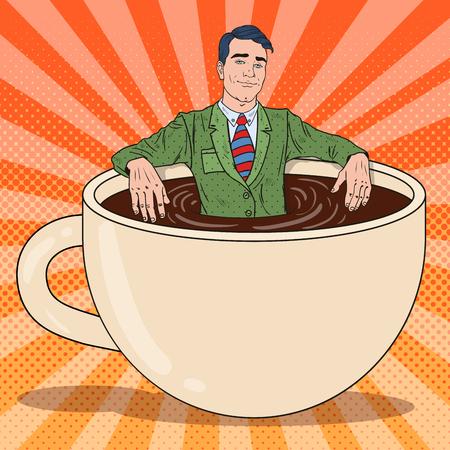 Pop Art Happy Businessman Relaxing in Coffee Cup. Work Break. Vector illustration