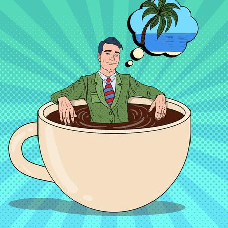 Popart glimlachende zakenman ontspannen in koffiekopje en dromen over tropische vakantie. Vector illustratie