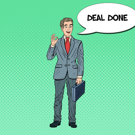 Pop Art Happy Businessman Gesturing OK. Business Success. Vector illustration