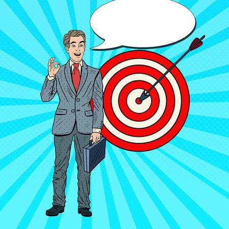 targets: Pop Art Happy Businessman Achieved the Target. Business Success. Vector illustration