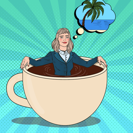 Pop Art Business Woman Relaxing in Coffee Cup and Dreaming about Tropical Vacation. Work Break. Vector illustration Illustration