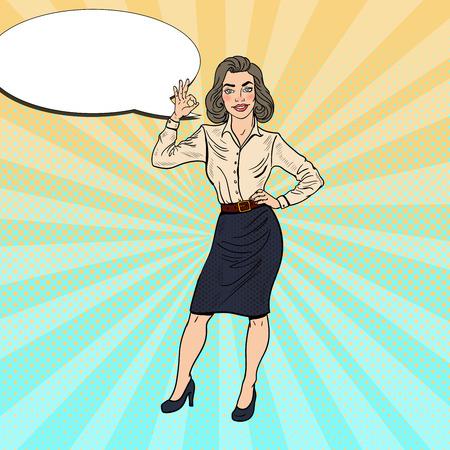 Pop Art Successful Business Woman Gesturing OK. Vector illustration Illustration