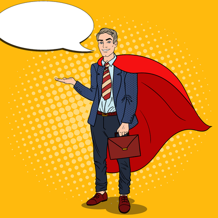Pop Art Smiling Super Businessman in Red Cape Pointing on Copy Space. Business Presentation. Vector illustration