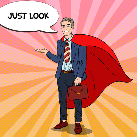 Pop Art Happy Super Businessman in Red Cape Pointing on Copy Space. Business Presentation. Vector illustration Illustration