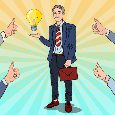 acceptation: Pop Art Businessman with Creative Idea Light Bulb. Business Innovation. Vector illustration