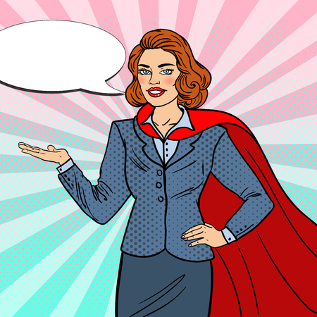 Pop Art Super Businesswoman in Red Cape Pointing on Copy Space. Presentation. Vector illustration Illustration