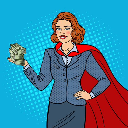 Pop Art Super Businesswoman in Red Cape with Money. Business Success. Vector illustration Illustration