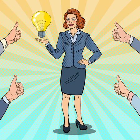Pop Art Happy Business Woman met creatief idee Light Bulb. Innovatie. Vector illustratie
