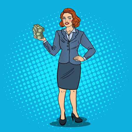 Pop Art Happy Business Woman with Stack of Money. Business Success. Vector illustration