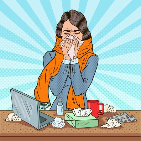 Pop Art Business Woman Sneezing at Work. Girl Feeling Sick. Vector illustration